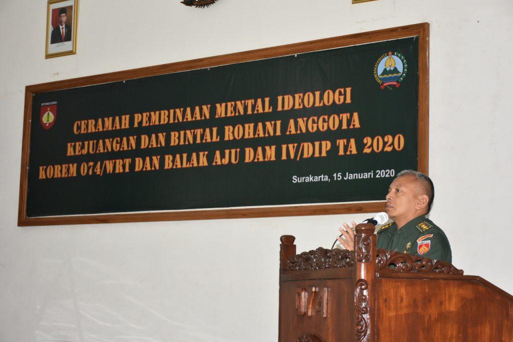 Bintal Rohani Dan Bintal Ideologi Kejuangan  Korem 074/Warastratama